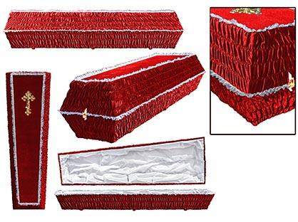 Гроб обивка бархат. Цвет красный