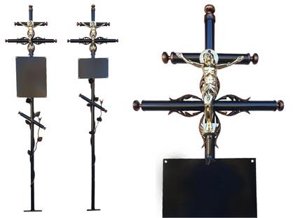 Крест малый с розой и Иисусом