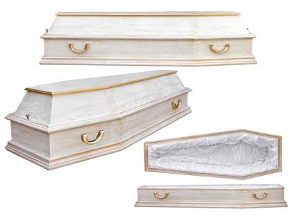 Гроб 12. Шестигранный белый с золотом